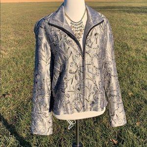 Anage Silk embellished Full Zip silver jacket S